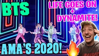 BTS CLOSE THE SHOW Life Goes On\  \Dynamite\ AMAS 2020 LIVE REACTION