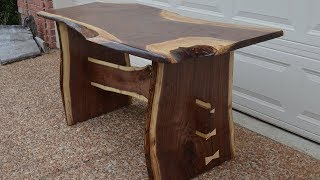 Rustic Walnut Slab Farm House Dining Table