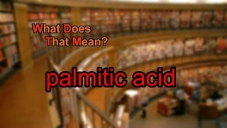 What does palmitic acid mean?