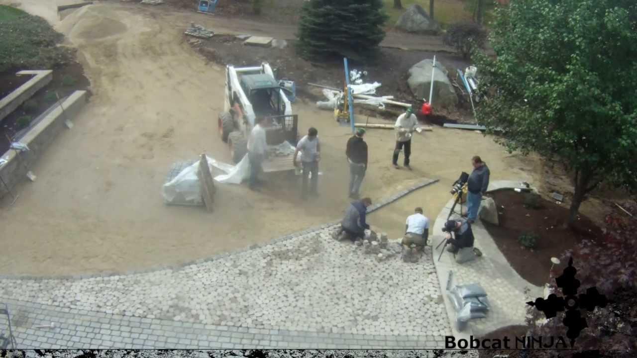 time lapse: brick paver driveway installation - youtube