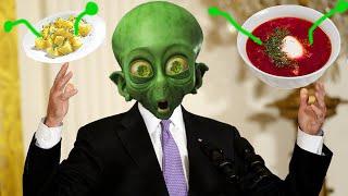 Инопланетный гость бидон, тарелки с супом, борщом и пюрешкой а так же Финансовые советы от алюминия