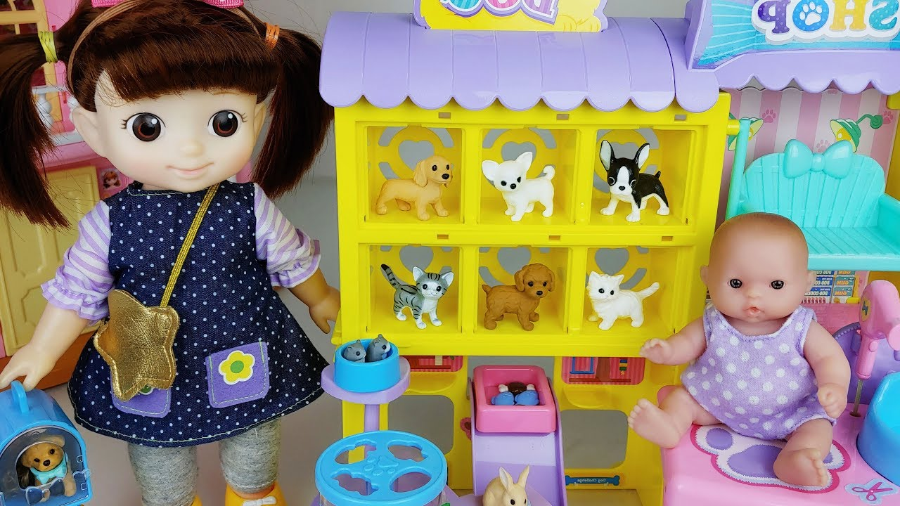 Baby doll and pet animal care house toys play story - ToyMong TV 토이몽