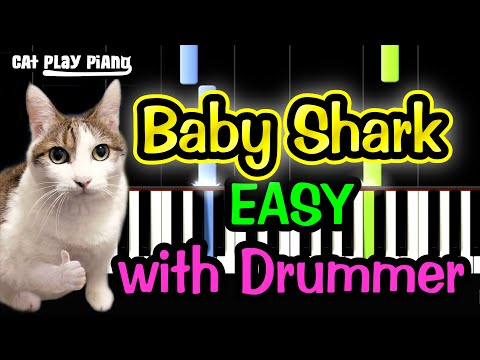 Baby Shark - Piano Tutorial Easy [with Drummer] + Free Sheet Music PDF thumbnail