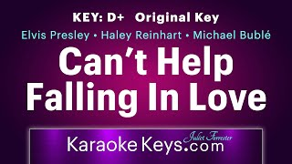 Can't Help Falling In Love With You • D+ • Original Key • Karaoke Piano • WITH LYRICS