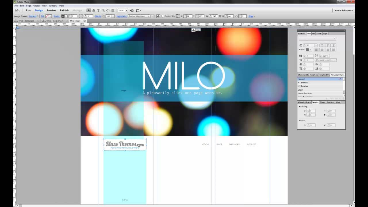 modifying the milo navigation bar adobe muse template youtube
