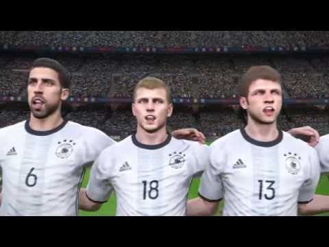 France vs Germany opening scene - national anthems - PES 2017