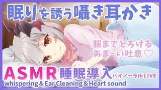 【ASMR】黒3dio導入!眠りを誘う囁き耳かき/睡眠導入/Binaural/whispering&Ear Cleaning&Sleep【周防パトラ / ハニスト】