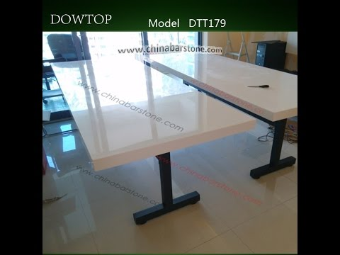 Glossy White Corian Dining Table Installation