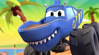 Monster Town MONSTER TRUCK SHARK TRUCK & the MONSTER TRUCK TOW TRUCK are Racing ! Car City Video