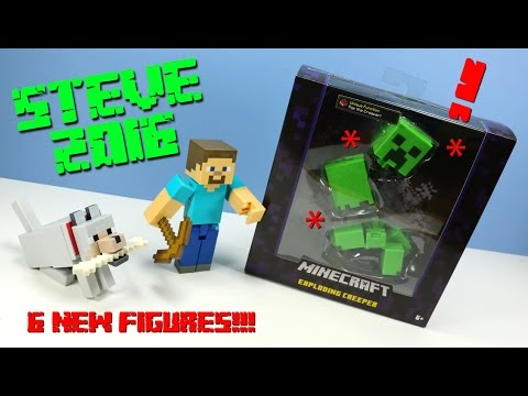 Minecraft 2016 Mattel 5 Inch Action Figures Mining Steve Tame-able Wolf And Exploding Creeper