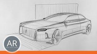 Autos schnell zeichnen. Autos in Perspektive zeichnen. Mappenkurs Transportation Design