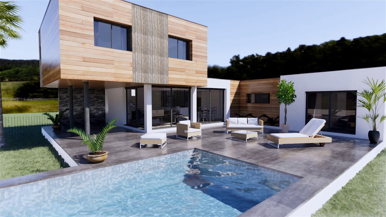 Maison moderne bois - YouTube