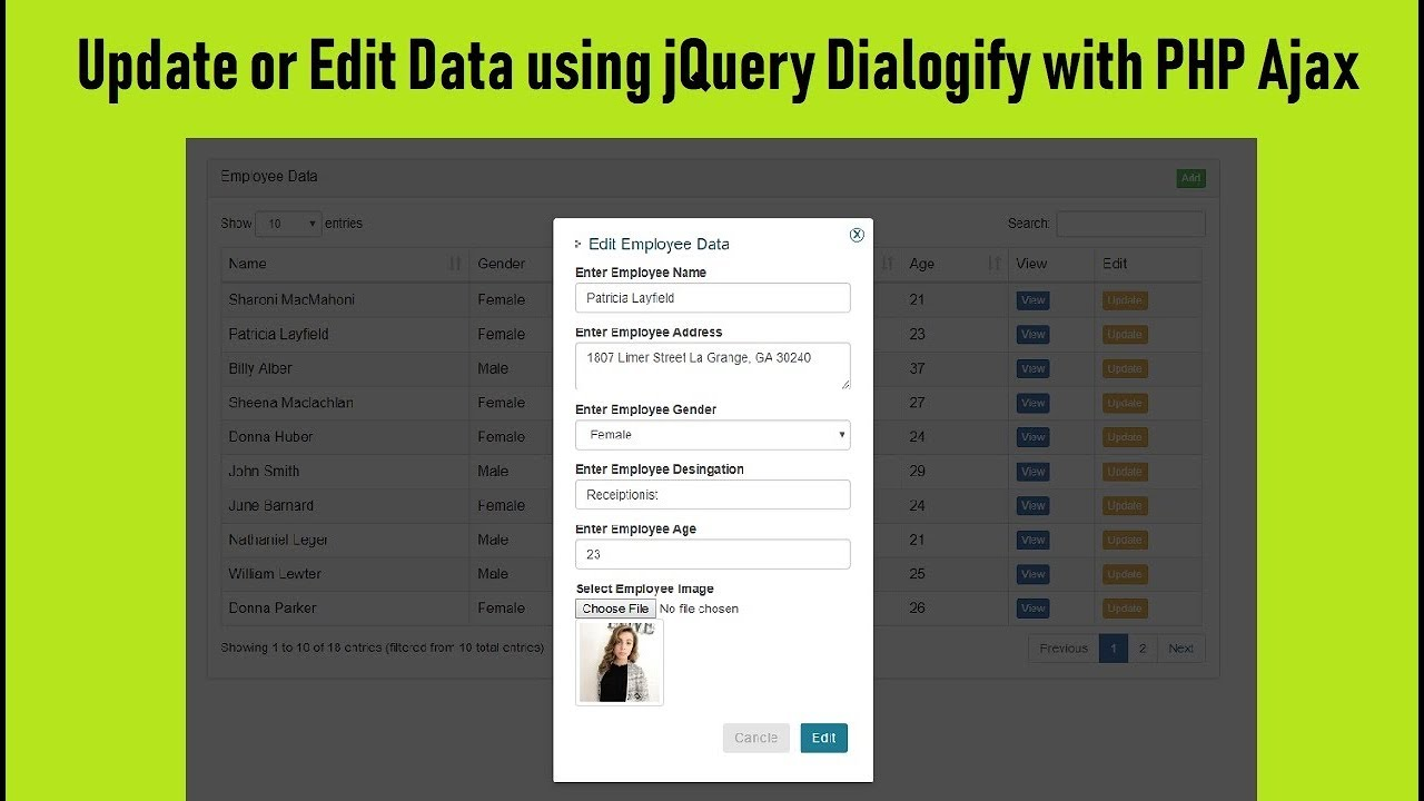 Update or Edit Data using jQuery Dialogify with PHP Ajax | Webslesson