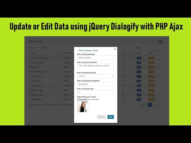 How to Update or Edit Data using Dialogify with PHP Ajax