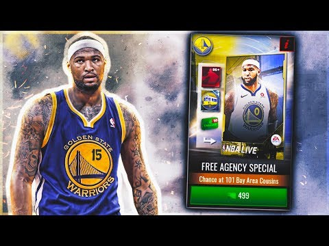 101 DEMARCUS COUSINS PACK OPENING | FREE AGENCY PACKS!!! | NBA Live Mobile