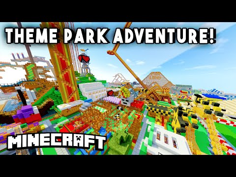 Minecraft Maps - THEME PARK ADVENTURE [Ep1] (Rollercoasters, Mazes, Hunted Houses & more!)