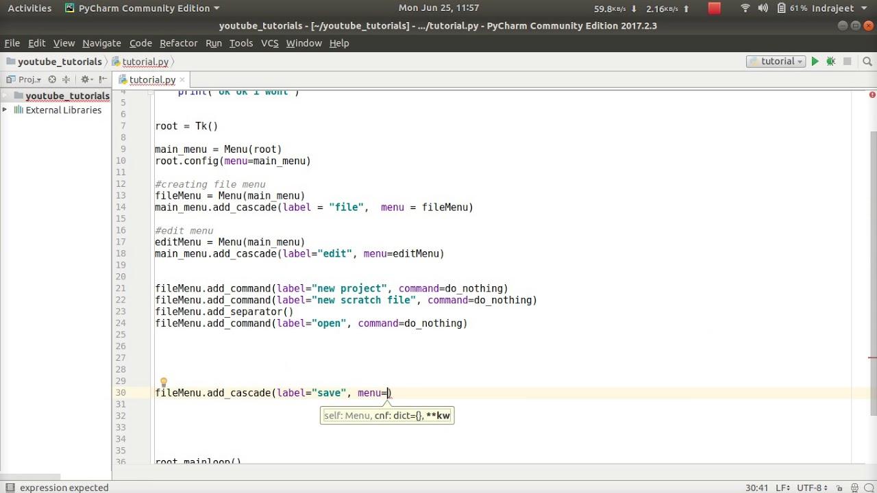 Python GUI Tutorial - 10 - creating SubMenus   menu inside menu   tkinter  tutorial