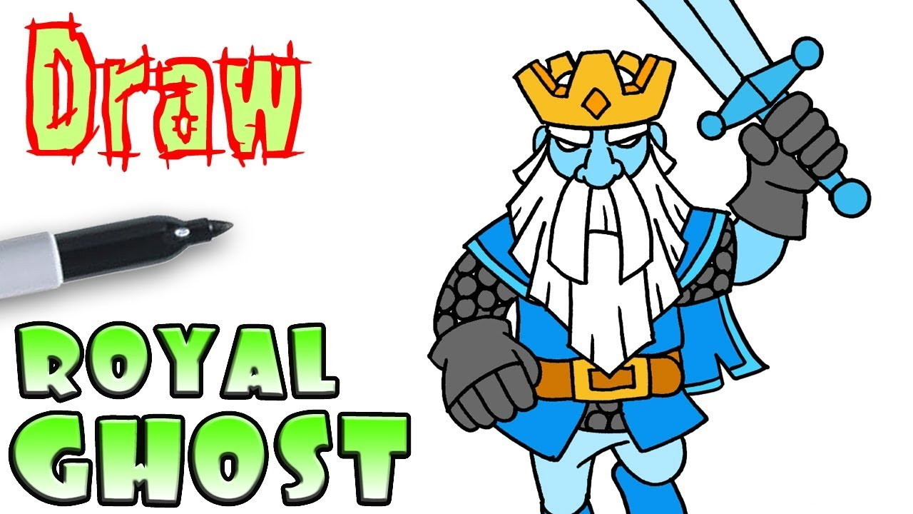 how to draw the royal ghost clash royale