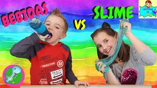 BEBIDAS VS SLIME // Drink Slime vs Real Drink * Reto de Refrescos de Slime