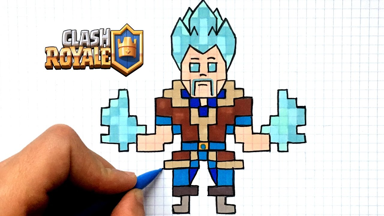 Draw Ice Wizard Pixel Art Clash Royale