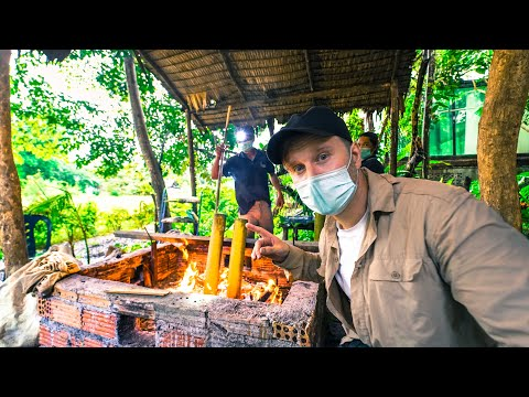Cooking THAI Food over a Campfire / $60 Jungle House in Surat Thani / Thailand Motorbike Tour