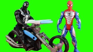 Ultimate Spider-man Sinister 6 Marvel Armored Spiderman & Agent Venom Symbiote Cycle Battle Lex Bot
