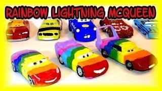 Pixar Cars Rainbow Lightning McQueen Custom Painted Car Rainbow Cruz Ramirez and Rainbow The King
