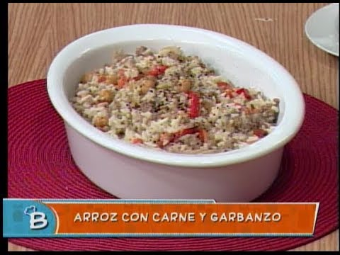 Arroz con carne y garbanzo
