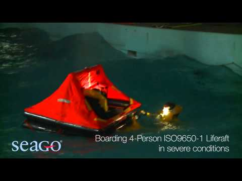 A SEAGO liferaft in a storm scene | Pirates Cave Chandlery