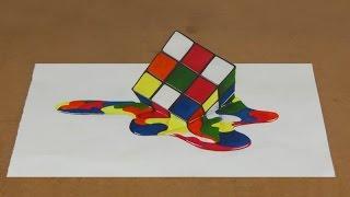 """Anamorphic Illusion """"Melting Rubik"""