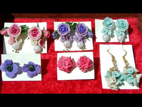Handmade earrings with handmade air dry clay | Polymer clay jewellery