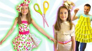 Ева и папа делают платья для вечеринки сами из чего попало