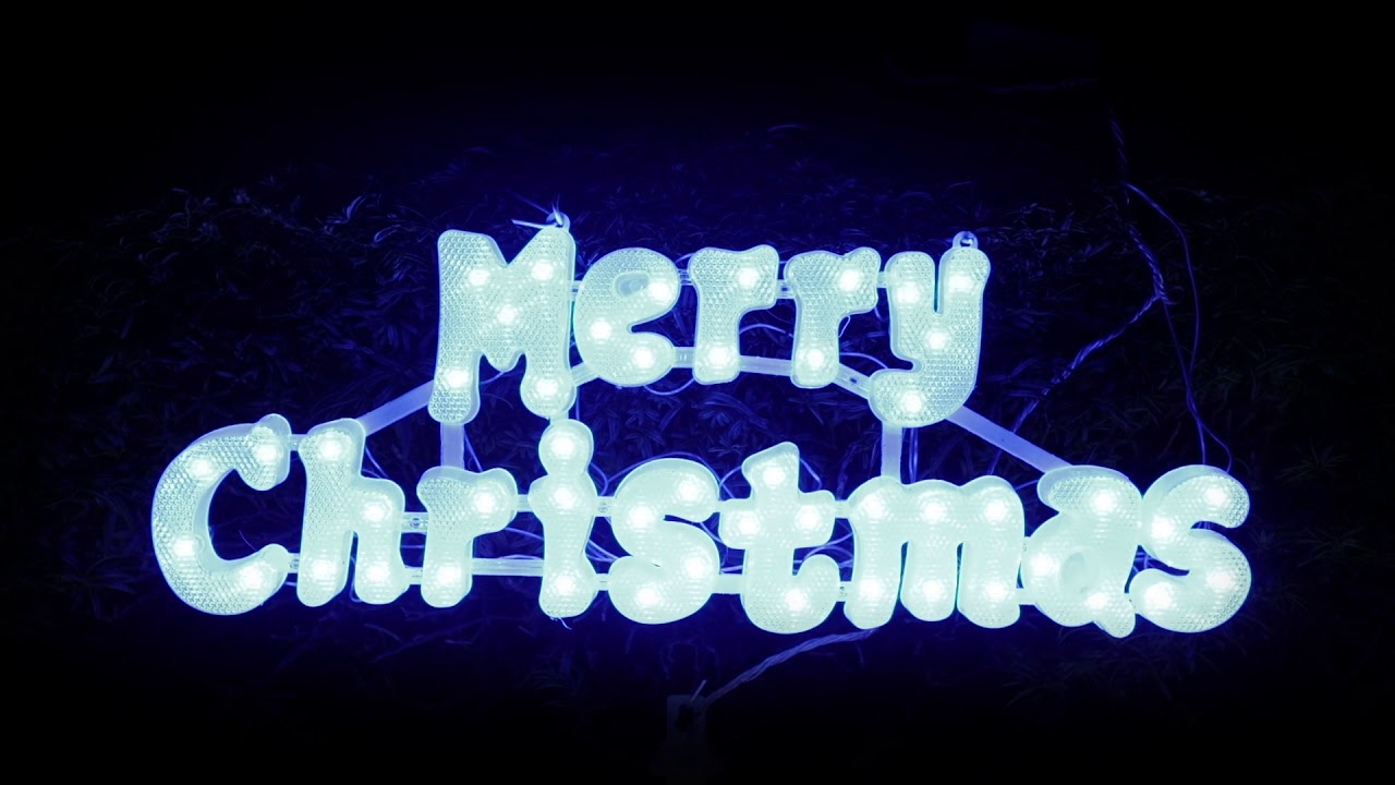 pre lit colour changing outdoor merry christmas sign
