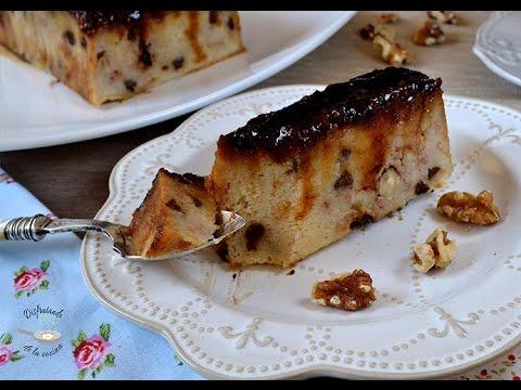 Pudin o budin de pan con chocolate y nueces  Receta fácil, deliciosa y cremosa