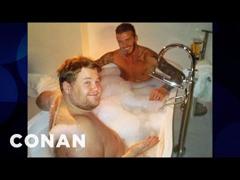 James Corden On Sharing A Bath With David Beckham  - CONAN on TBS