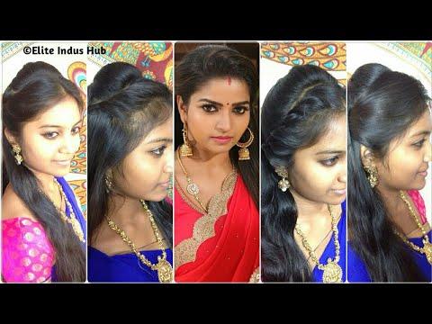 4 Open Hair Indian Party Hairstyles | Nandhini Serial Ganga Hairstyles