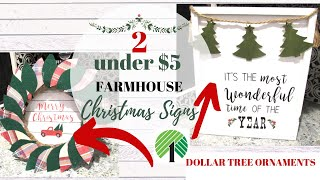 2 FARMHOUSE CHRISTMAS DIY SIGNS | Using DOLLAR TREE ORNAMENTS | HOBBY LOBBY INSPIRED|EASY DIY SIGNS
