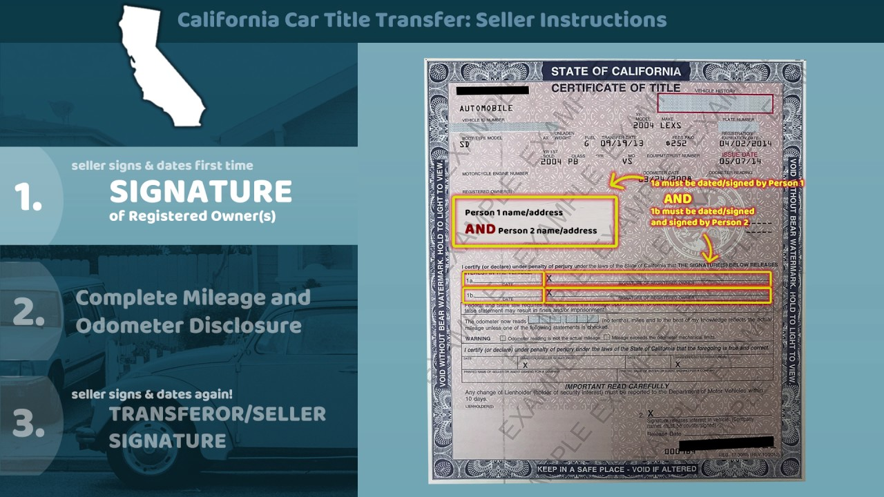 California Certificate Of Title Transfer Seller Instructions Youtube