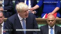 Boris Johnson spricht als neuer Premierminister von Großbritannien im britischen Unterhaus
