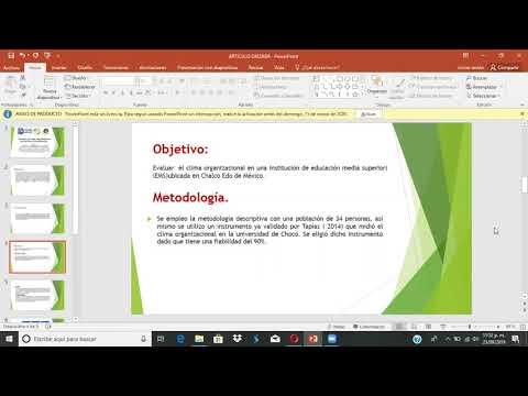 (8) Evaluación del clima organizacional en una Institución de Media Superior.
