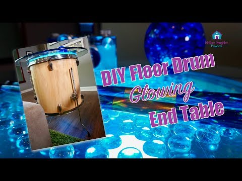 DIY Floor Tom Drum Glowing LED End Table