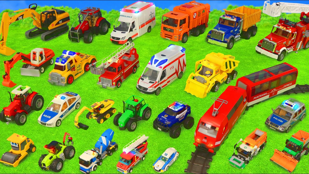 Fire Truck Tractor Train Police Cars Garbage Trucks