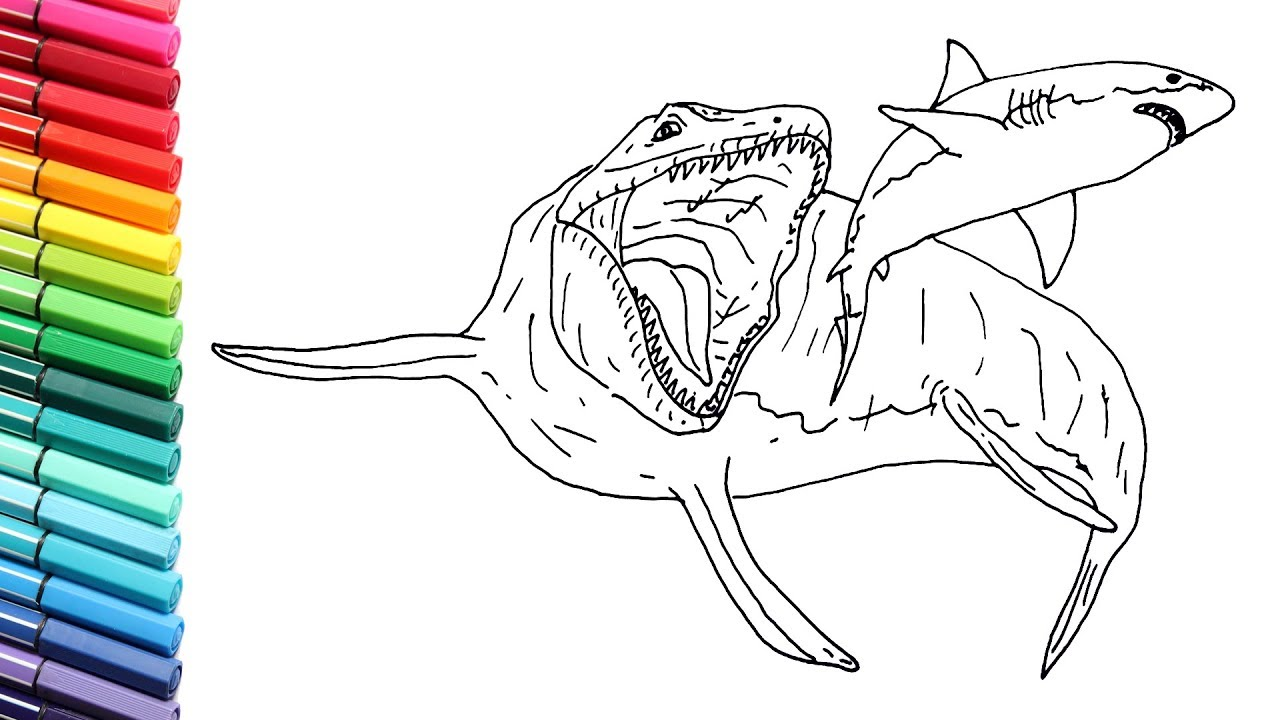 how to draw the mosasaur vs megalodon shark  drawing and