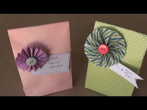 Como hacer bolsa para regalo // DIY paper gift bag - YouTube