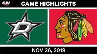 NHL Highlights   Stars vs. Blackhawks – Nov. 26, 2019