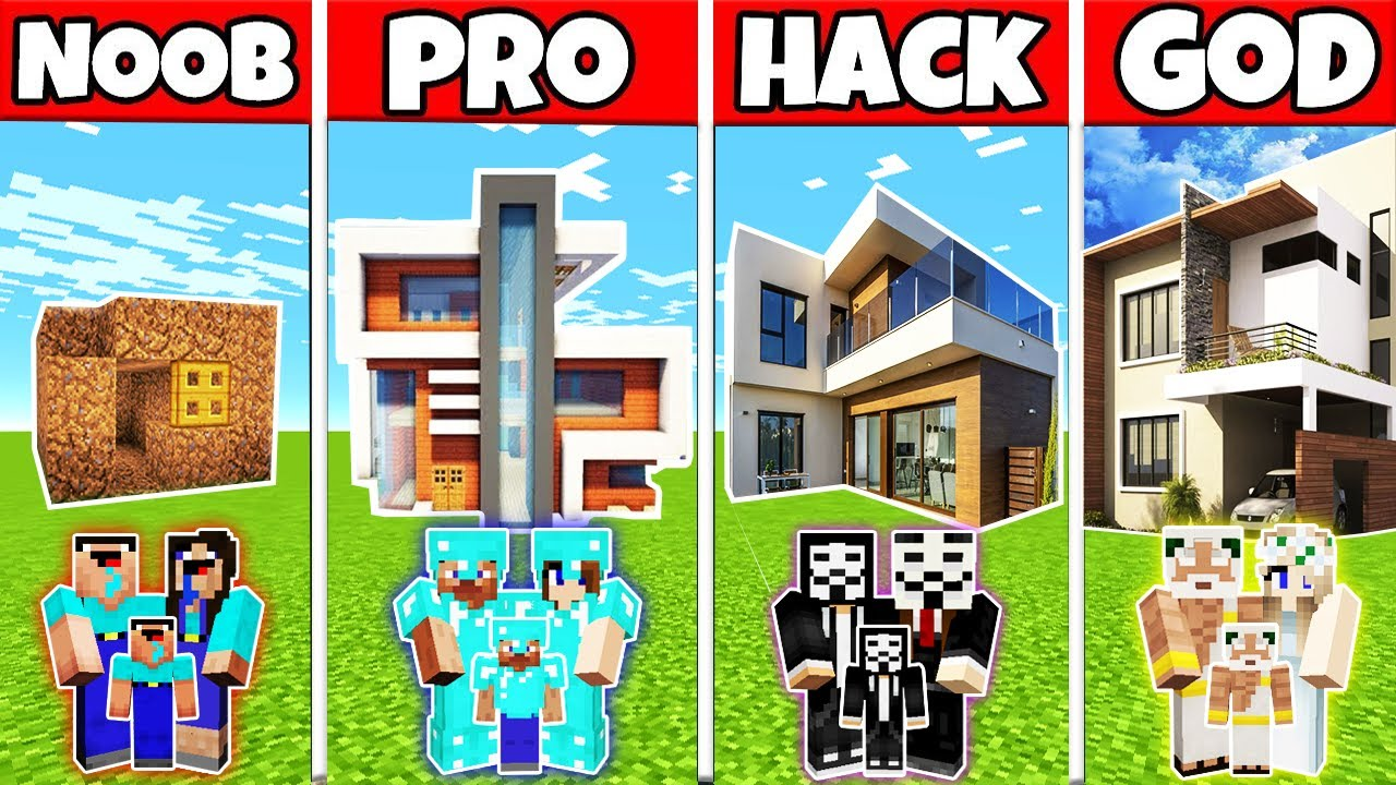 Minecraft: FAMILY INSANE MODERN HOUSE BUILD CHALLENGE - NOOB vs PRO vs HACKER vs GOD