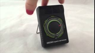 Seiko Quartz Metronome Sqm-300 Manual Box Light Music Timer Tempo Counter