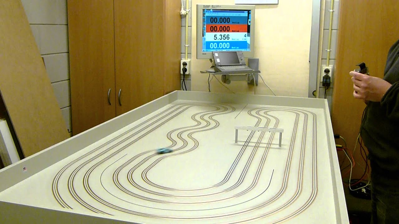 Ho Afx Mega G Slot Car On A Routed Copper Taped Mdf Track