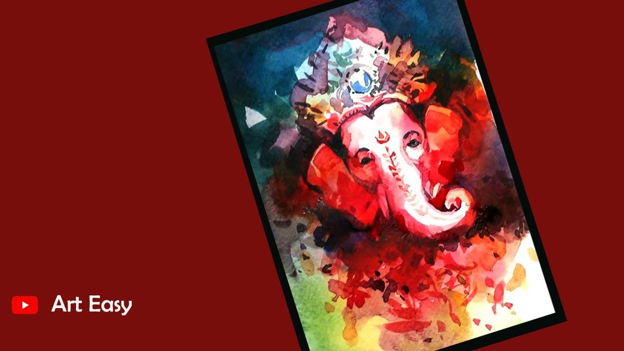 Easy Ganpati Watercolor Painting