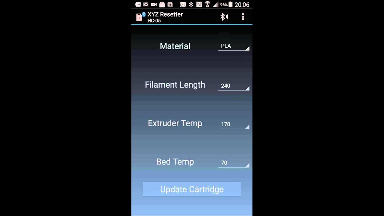 da Vinci 3D Printer Bluetooth Resetter App